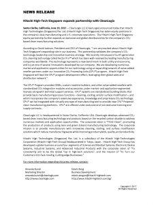 Cleanlogix Hitachi Partnership June 19 2017